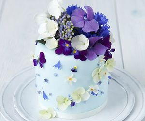 cake, flowers, and purple image