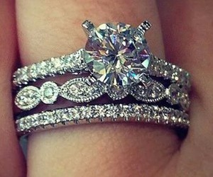 romance, engagement ring, and wedding rings image