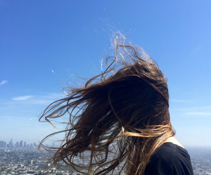 beautiful, brunette, and blue sky image