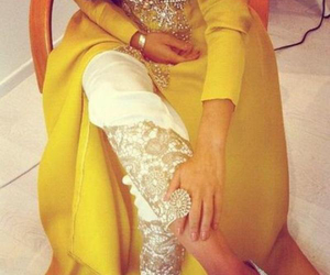 dress, yellow, and arabic image