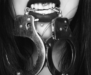 piercing, handcuffs, and lips image