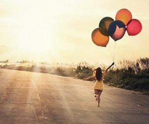 girl, balloons, and sun image