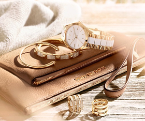 bag, gold, and watch image