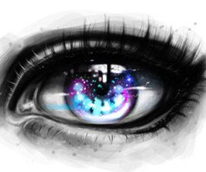 art, eye, and galaxy image