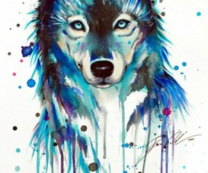 wolf, blue, and art image