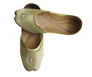 ballet flats, indian shoes, and gold shoes image