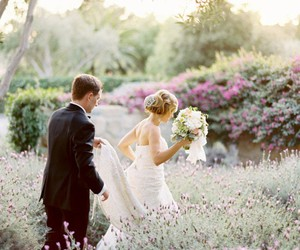 wedding, love, and flowers image