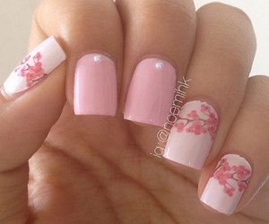 nails, pink nails, and floral nails image