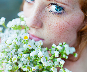 flowers, freckles, and model image