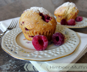 muffins, powdered sugar, and raspberry image
