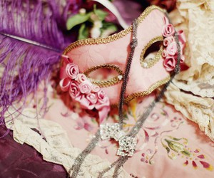 pink, mask, and masquerade image