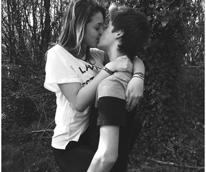 black & white, couple, and together image