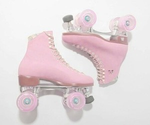 pink, pastel, and skate image