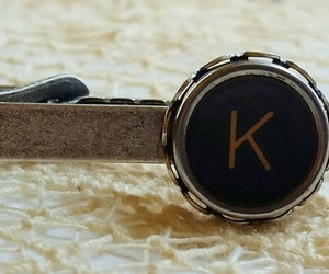 gift for man, steampunk tie clip, and k tie clip image