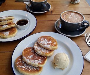 food, coffee, and pancakes image