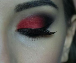 black, makeup, and red image