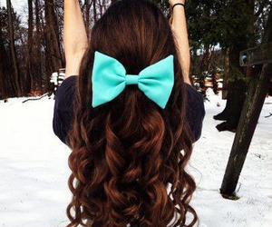 bow, brown, and hair image