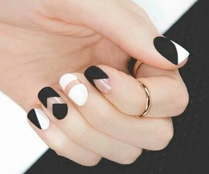 black, black and white, and nails image