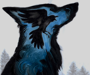 wolf, art, and bird image