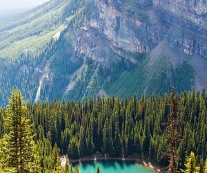 green, mountains, and trees image