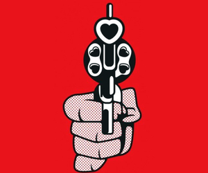 wallpaper, gun, and red image