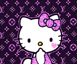 hello kitty, LV, and wallpaper image