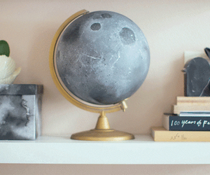 book, globe, and moon image