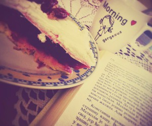 book, cake, and coffee image