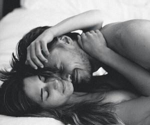 black&white, couple, and hug image