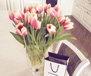 flowers, chanel, and tulips image