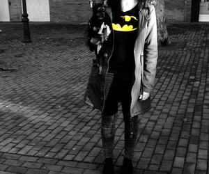 b&w, batman, and dog image