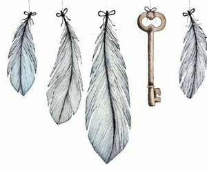 feather, key, and art image