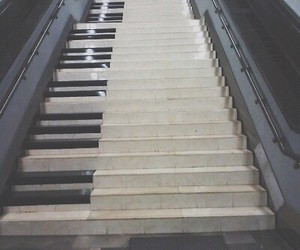 piano, music, and stairs image