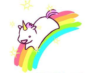 unicorn, rainbow, and kawaii image