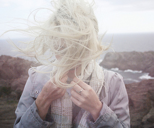 blond, girl, and wind image