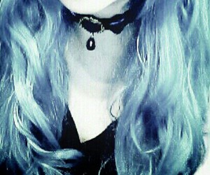 black lipstick, blue hair, and choker image