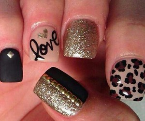 nails, love, and black image