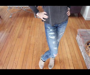 booties, fall, and ripped jeans image