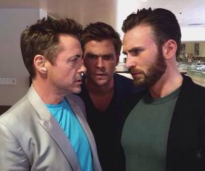chris evans, chris hemsworth, and Avengers image