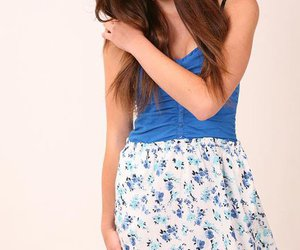 blue, brown hair, and clothes image