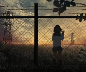 anime, girl, and sunset image