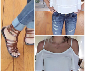 sandals, white top, and cute image