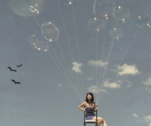 balloons, girl, and sky image
