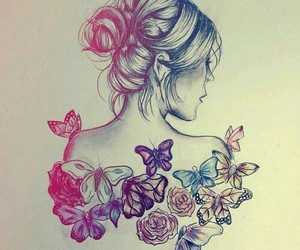 butterfly, drawing, and girl image