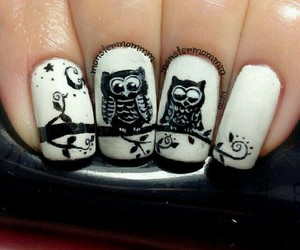 black and white, nails, and designs image