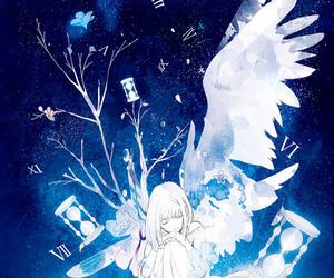 anime, blue, and illustration image