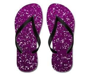 flip flops and pink glitters image