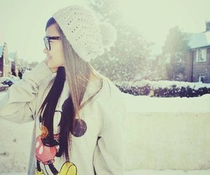 girl, snow, and hair image