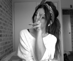 girl, peace, and black and white image