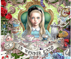 alice in wonderland, art, and blonde image
